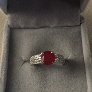 Elegant classy beautiful Real red ruby SS925 ring